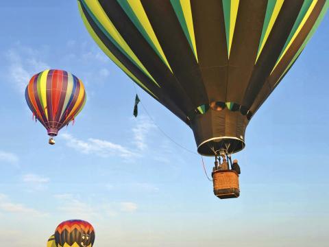 フェスティバルで空高く上がる熱気球