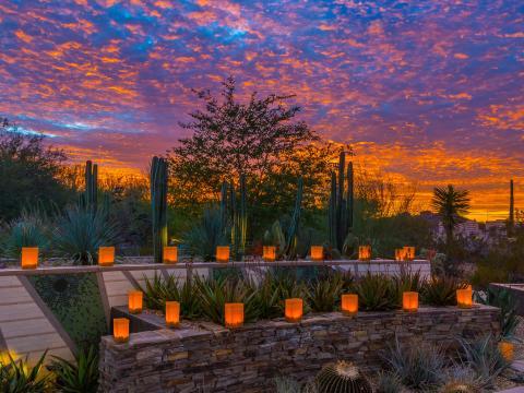 アリゾナ州スコッツデールのラス・ノチェス・デ・ラス・ルミナリアスの期間中の日沈後のイルミネーション