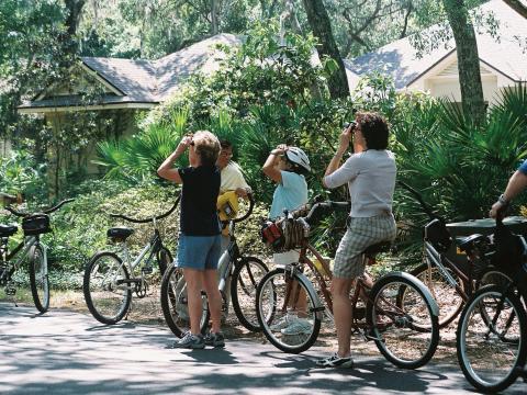 フロリダ州アメリア島のワイルド・アメリア・ネイチャー・フェスティバルでサイクリングをしながら野生動物を観察