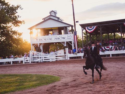 ケンタッキー州シェルビービルで開催されるシェルビービル・ホース・ショーで競争する馬と騎手