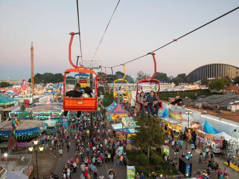 ローリーで開催されるノースカロライナ・ステート・フェアのスカイライド